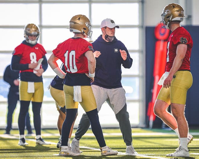 Notre Dame offensive coordinator Tommy Rees is flanked by QBs Drew Pyne (10) and Jack Coan (17) during a spring practice session.