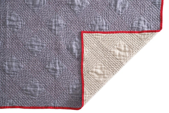 Mathilde's Newport quilt is fashioned from a combination of linen and cotton that's machine washable and dryer-safe.