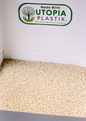 Utopia Plastix's plant-based resin is delivered to manufacturers in beads.