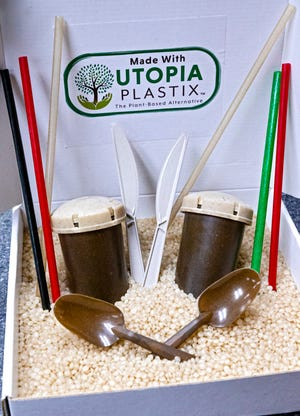 Products created from Utopia Plastix's process to create a resin out of plant-based materials are displayed.