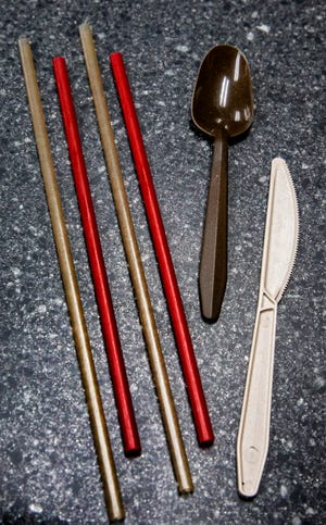 Straws and cutlery made from Utopia Plastix' plant-based resin.