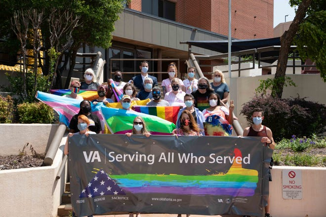 Participants gather for the Oklahoma City Veterans Affairs Medical Center's Pride March on June 24. Supporters included LGBTQ+ Veteran Care Coordinators Dr. Anna Craycraft, front row, third from left, and Neeley Snyder, back row, second from right. [PHOTO PROVIDED]