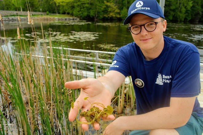 Huron Pines AmeriCorps member Nick Theisen holds a clump of European frog-bit found at the kayak launch at the Alpena Wildlife Sanctuary. Invasive plants like these can hitchhike their way to other lakes and rivers via watercraft that are not properly cleaned and drained.