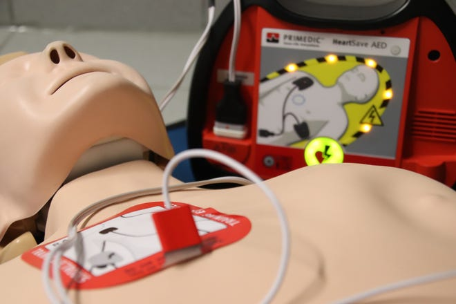 An automated external defibrillator (AED) is shown. Some in Charlevoix's downtown community hope to bring more of the potentially lifesaving devices to the business district.