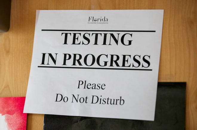 A sign posted during summer school at Palm Beach Lakes High School.