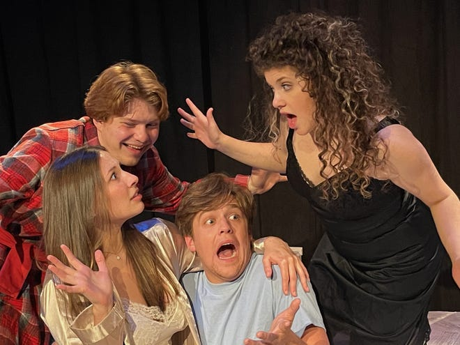 """Bailey Roberts, clockwise from center, Grace Cummings, Jacob Ryan Martinez and Anna Holmes star in Canterbury Summer Theatre's production of """"I Love You, You're Perfect, Now Change"""" that opens Wednesday and continues through July 17 at the theater in Michigan City."""