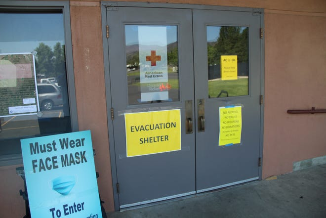The entrance of the Red Cross evacuation shelter at Jackson Street School in Yreka.