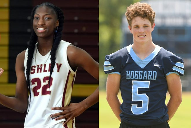 Ashley's Saniya Rivers (left) and Hoggard's Jaxon King have been named the 2020-21 StarNews Athletes of the Year.