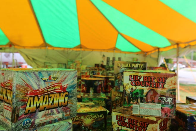 Officials are urging the public to only use fireworks sold at licensed tents, such as those shown here at the Kaboomers tent in Pittsburg, rather than buying black market fireworks or trying to make their own.