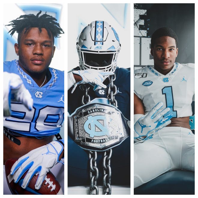 UNC football hosted dozens of recruits for official and unofficial visits on its campus during the month of June. Among them: four-star 2022 Cleveland H.S. running back Omarion Hampton (left), five-star 2022 Grimsley H.S. defensive lineman Travis Shaw (middle) and four-star 2022 Florida cornerback Daylen Everette (right)
