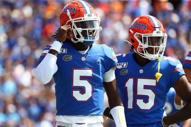 Florida quarterback Emory Jones (5) and wide receiver Jacob Copeland (15).