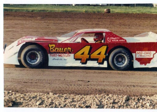 The late Merrill Downey is shown in his legendary 44 car at Lawrenceburg Speedway. The Merrill Downey Memorial for Modifieds pay $10,444.44 to the winner Saturday night.