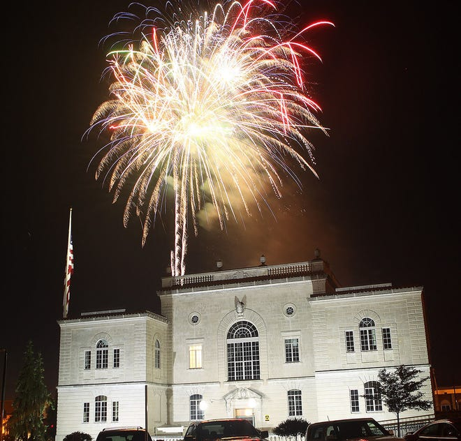 Fireworks explode over the Lawrence County courthouse in 2018. The area will have plenty of fireworks shows on display for the holiday weekend.