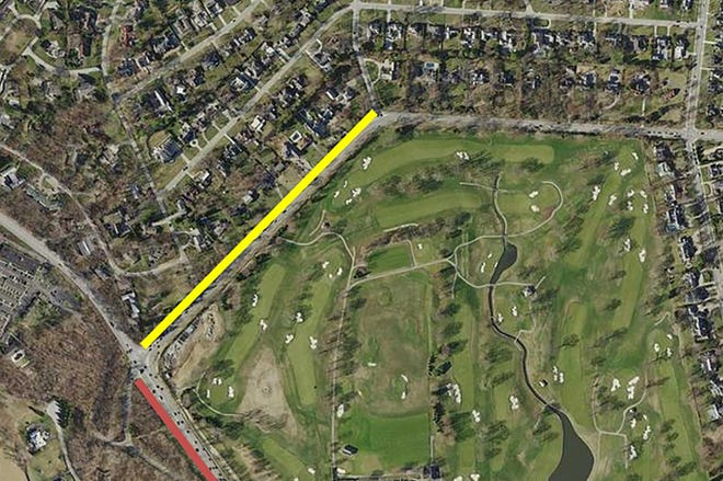 The yellow line denotes a planned shared-use path the city intends to build on the north side of Lane Avenue, from Asbury Drive to Riverside Drive. The path will connect Lane Avenue to the first phase of Quarry Trails Metro Park, which is expected to open this fall.