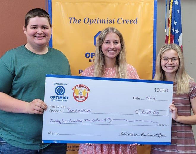 Grant Loehrer, Delanie Tschakert and Olivia Fox receive scholarships from the Watertown Optimist Club