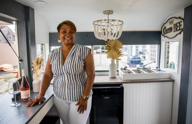 Zonieke Alston-Betts, poses in her 1968 Sante Fe trailer, June 30, 2021. She launched Pour Mobile Wine Bar in April 2021.