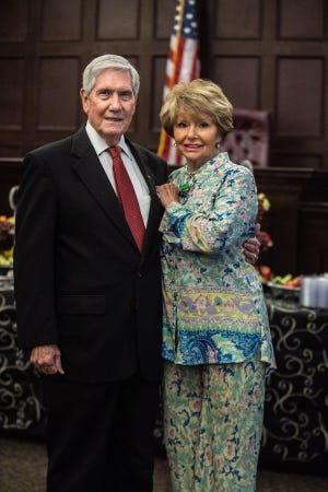 Judge James F. Butler and his wife Judy Butler on Wednesday, June 30, 2021 during Judge Butler's retirement party at the Madison County Courthouse in Jackson, Tenn.