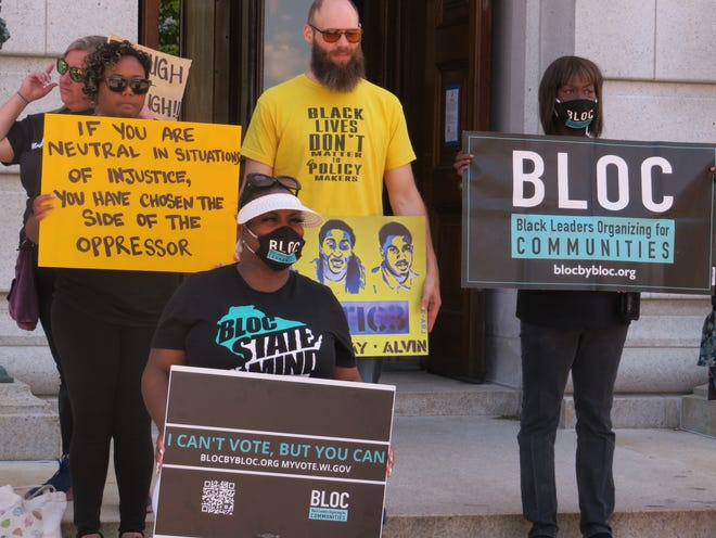 Activists with BLOC and the Peoples Revolution held a news conference ahead of the Wisconsin Senate use-of-force vote and called on Gov. Tony Evers to form an executive commission without law enforcement.
