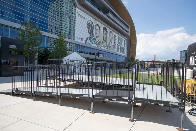 An ADA platform for wheelchairs is seen in front of Fiserv Forum in Milwaukee on Wednesday. The area now allows for accessibility during Bucks games.