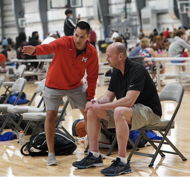 Domenic Policicchio (left) spent one season at Orchard Lake St. Mary's before taking the head coaching job at University of Michigan Dearborn.