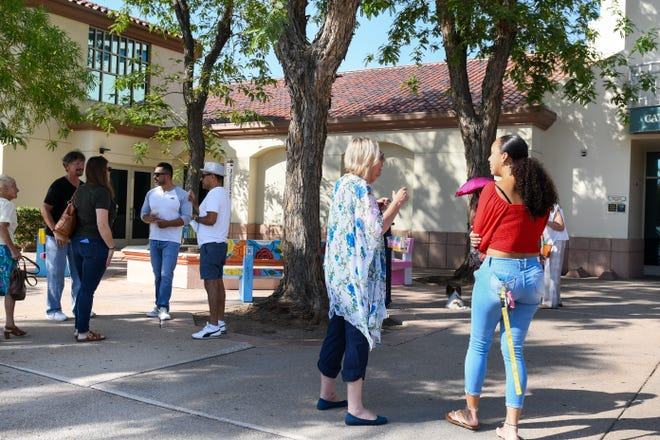 Fourteen benches were showcased at the Cathedral City Library on Wednesday, June 30, 2021.