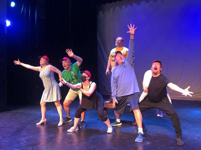 """The cast of """"You're a Good Man, Charlie Brown"""" rehearses. From left: Leslie Benjamin (Lucy), David Brooks (Schroeder), Allegra Angelo (Sally), J.W. Layne (Charlie Brown), Paul Grant (Snoopy) and Keith Alexander (Linus)"""