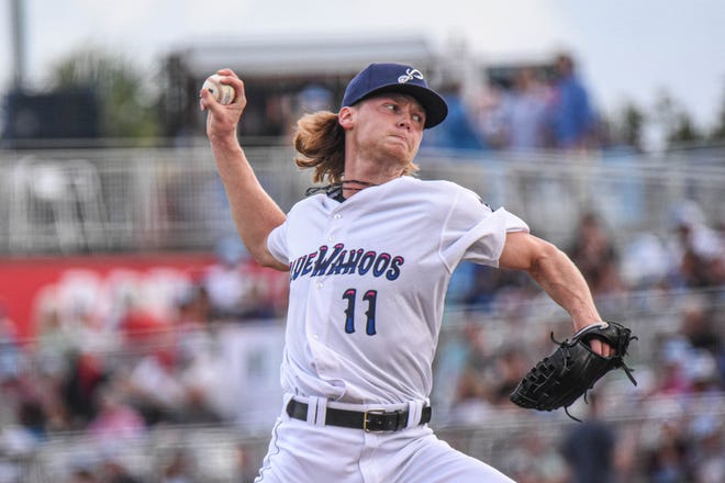 Pensacola Blue Wahoos pitcher Max Meyer throws in a game on June 29, 2021 at Blue Wahoos Stadium.