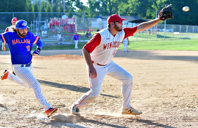 Windsor's Grant Schwartz, right, reaches for the ball as Hallam's Zach Zambito safely steps onto first during Susquehanna League baseball action at Laucks Memorial Park in Windsor, Tuesday, June 29, 2021. Windsor would win the game 6-5. Dawn J. Sagert photo