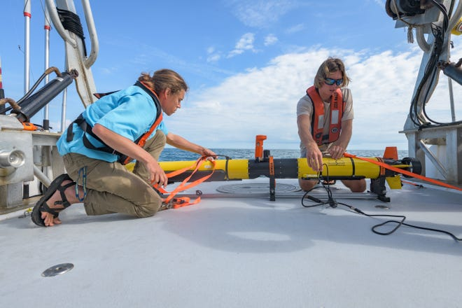 The team searching for the USS Nina was using an autonomous underwater vehicle to perform side-scan sonar and camera mapping of the site.