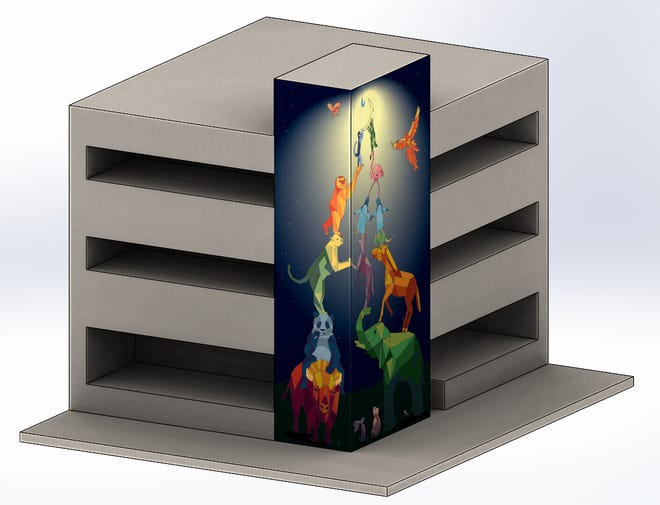 An artist's rendering of what a new mural will look like on the Lindemann Parking Garage