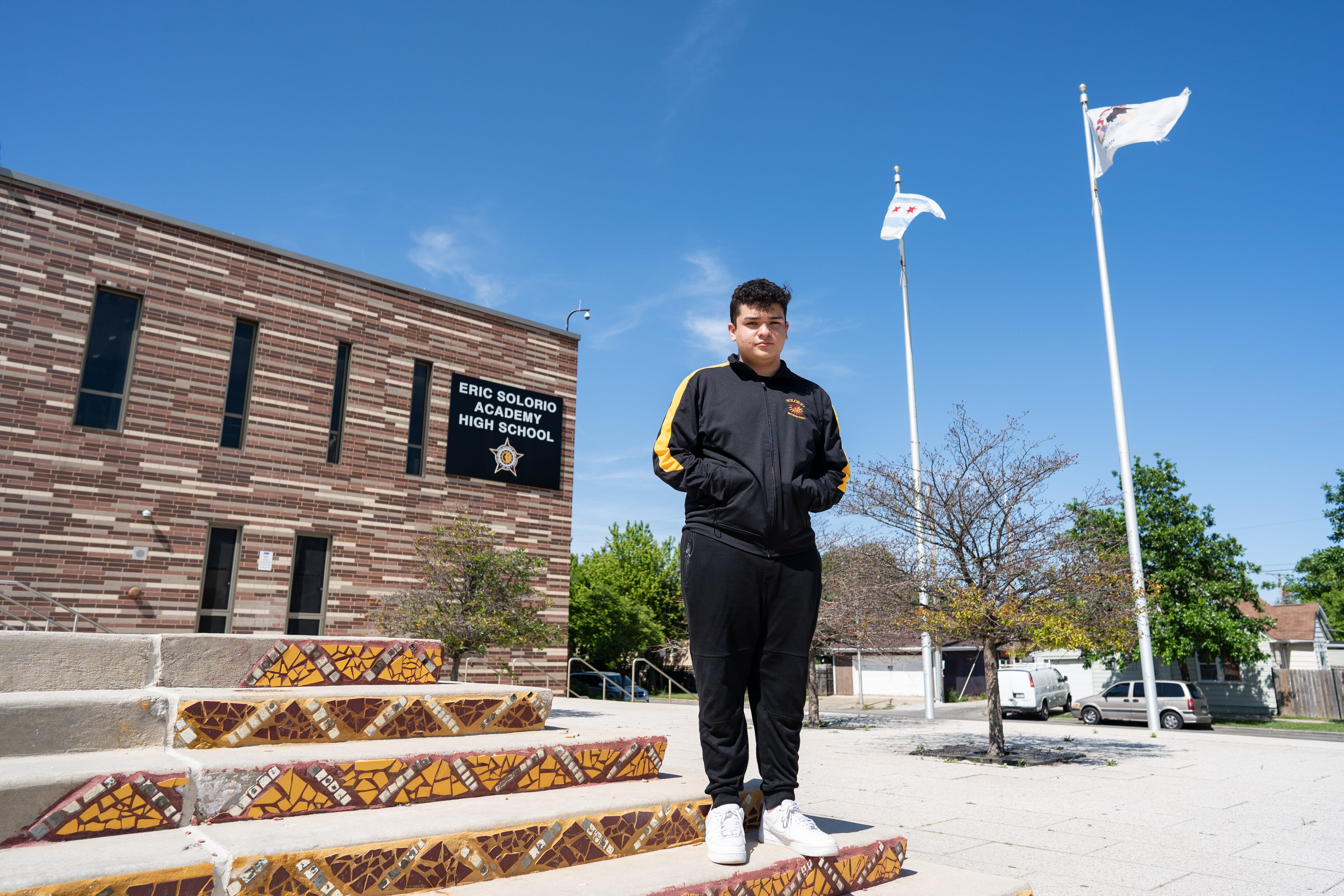 Leonel Gonzalez outside of Solorio Academy High School