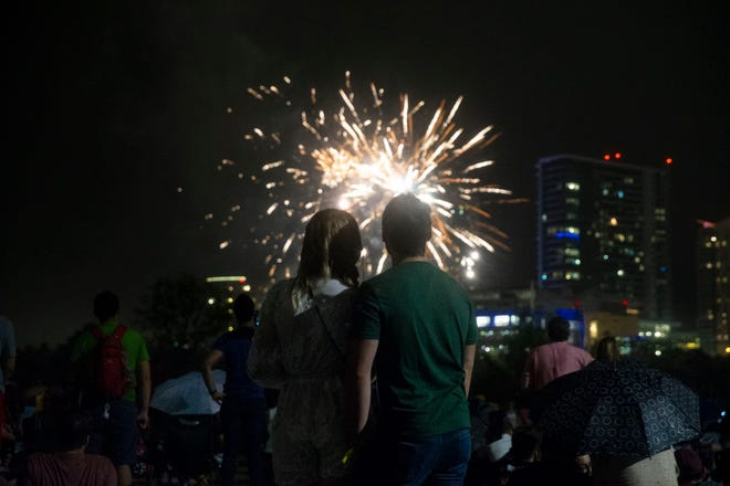 Crowds will be gathering again Sunday at Vic Mathias Shores, as they did in this photo from 2018, to watch the fireworks portion of the H-E-B Austin Symphony July 4th Concert & Fireworks celebration.