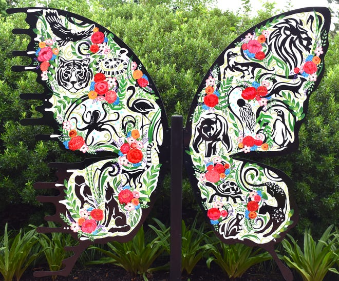 An animal-themed butterfly created by Stow artist Kimmy Henderson is on display at Akron Zoo. The piece is part of Henderson's Bipolar Butterfly Project