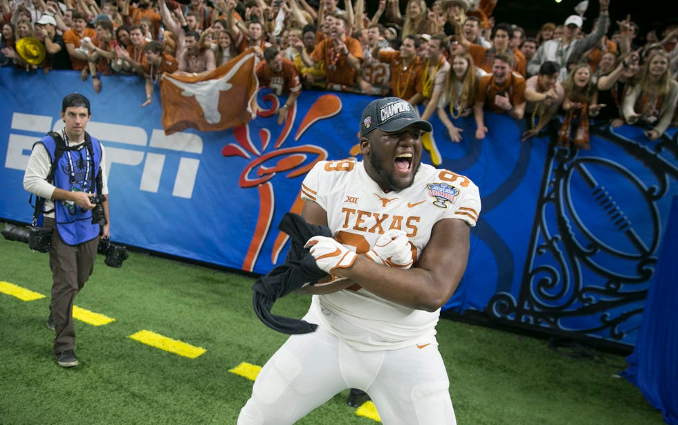 Defensive lineman Keondre Coburn celebrates the Longhorns' 2019 Sugar Bowl victory over Georgia. On Thursday, Coburn and all other NCAA athletes could start making money off their name, image and likeness.