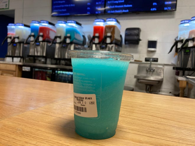 Find flavors like the Spiked Blue Razz Slushie at Pat Deon Beverages.