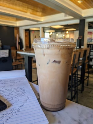 Chocolate and hazelnut are in the Ferrero Rocher iced latte at Pretty Bird Coffee Roasters in Yardley.