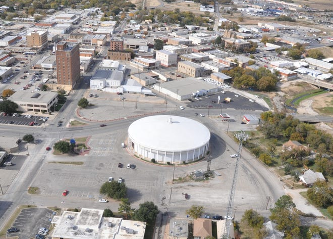 The former Brownwood Hotel, shown in an aerial view, is the tallest building in Brown and neighboring counties.