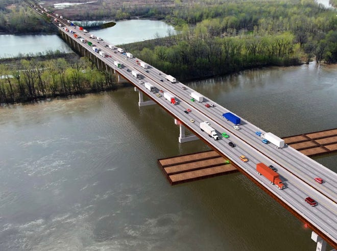 A rendering of the new Rocheport Bridge on Interstate 70 over the Missouri River.