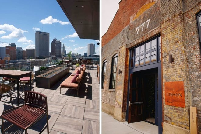 Left, the view from AC Hotel Columbus Downtown's Lumin Skybar; right, the façade of Edison 777 in Italian Village.