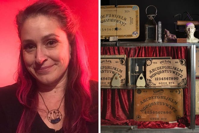 Left, WitchLab owner Tiffany Boggins; right, part of Boggins' vintage Ouija board collection.