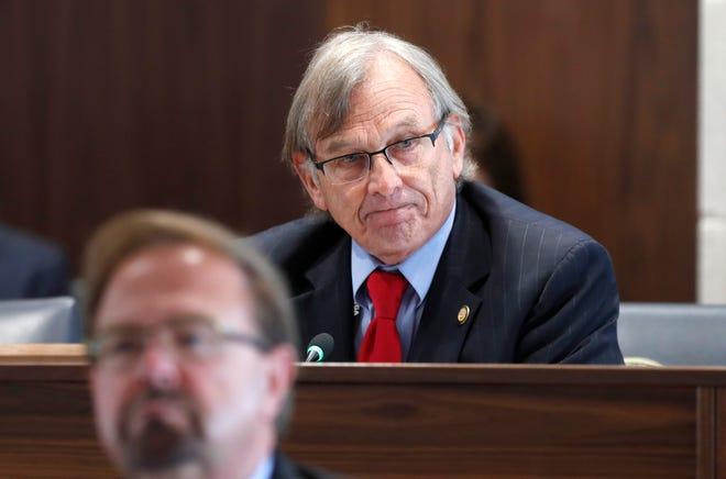 Sen. Bill Rabon speaks in favor of Senate Bill 711 during a Senate Judiciary hearing at the Legislative Building in Raleigh, N.C., Wednesday, June 30, 2021. (Ethan Hyman/The News & Observer via AP)