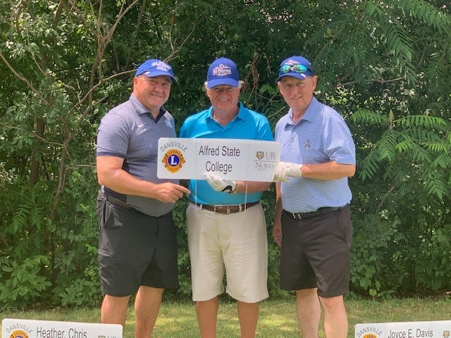 The Alfred State College team won the inaugural Jon Shay Memorial Golf Tournament on June 25 at Brae Burn Golf Course in Dansville. Pictured, from left to right, are team members Jay Wilder, Lew Rice, and Brett Llewellyn. Not pictured is team member Jason Doviak.