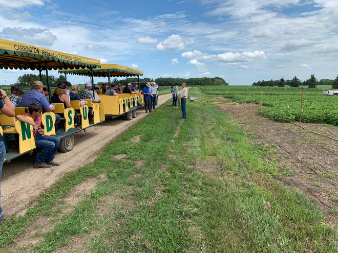NDSU plant pathologist Michael Wunsch speaks to visitors about plant pathology projects during the Carrington Research Extension Center's 2019 field day.