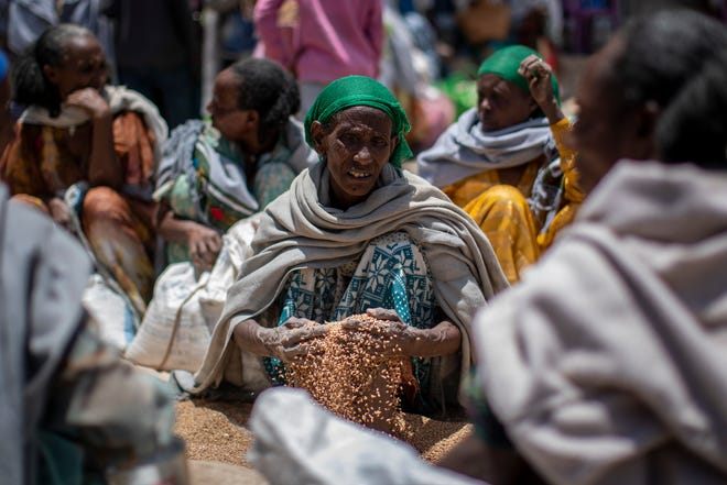 In this Saturday, May 8, 2021, photo, an Ethiopian woman scoops up grains of wheat after it was distributed by the Relief Society of Tigray in the town of Agula, in the Tigray region of northern Ethiopia. As the United States warns that up to 900,000 people in Tigray face famine conditions in the world's worst hunger crisis in a decade, little is known about vast areas of Tigray that have been under the control of combatants from all sides since November 2020.