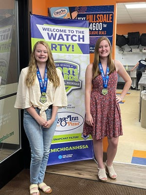 Chloe Manifold (left) and Karissa Manifold (right) at the watch party for the South Central Michigan High School Sports USA Today Awards Show. Karissa won the bowling female athlete of the year award.