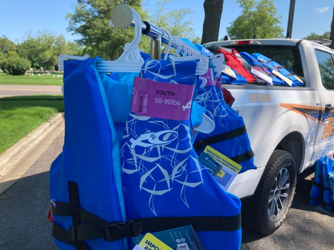 The Ottawa County Sheriff's Office picked up a donation of about 375 life jackets Thursday, July 1 from the West Michigan Lakeshore Association of Realtors.
