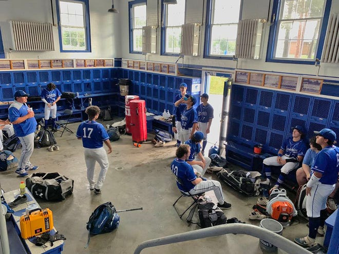 Members of the Leominster High School baseball team spent more time than expected Wednesday night in the clubhouse at Doyle Field because of strong thunderstorms that rolled through the city, bringing power outages that affected thousands of residents and businesses.