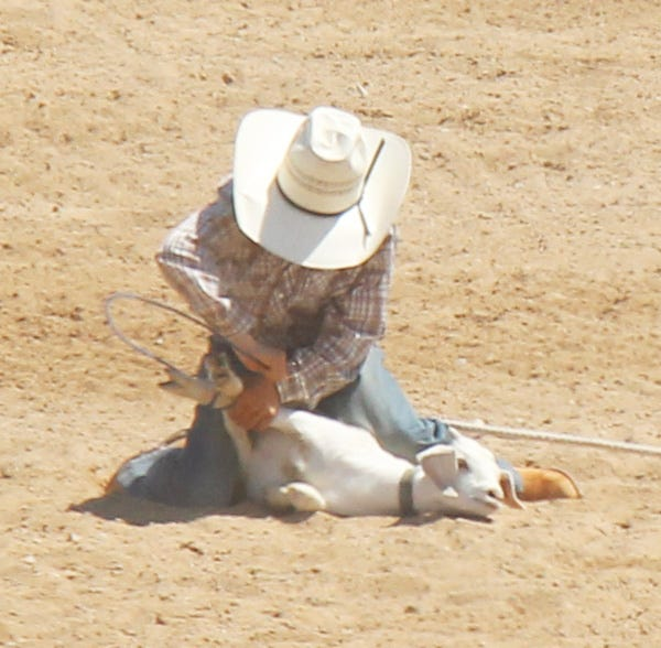 Ordway's Traven Sharon competes in boys goat tying at last year's La Junta Kids Rodeo. Sharon finished third in the event at last week's National Junior High School Finals Rodeo in Des Moines, Iowa.