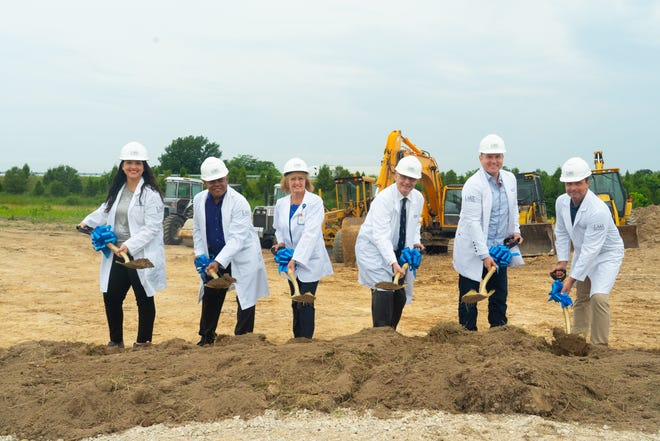 Lake Regional Health System celebrated the groundbreaking for its new campus in Lebanon on June 24. Pictured are Lake Regional Lebanon providers Laura Seaman, FNP-C; Jeffrey Fears, M.D.; Laura Thompson, FNP-C; Neil Schwartzman, M.D.; Ryan Rogers, MPAS, PA-C; and Dan Johnson, MSN, APRN-BC.