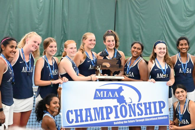 The AMSA girls tennis team wins the school's first state team athletic title.